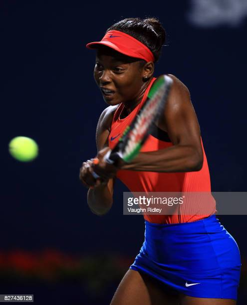 Francoise Abanda of Canada plays a shot against Lucie Safarova of Czech Republic during Day 3 of the Rogers Cup at Aviva Centre on August 7 2017 in...