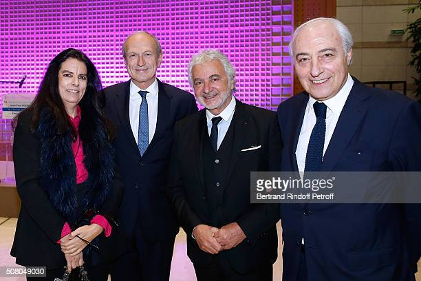 Francoise Bettencourt Meyers JeanPaul Agon heirdresser Franck Provost and JeanPierre Meyers attend President of l'Oreal JeanPaul Agon receives...