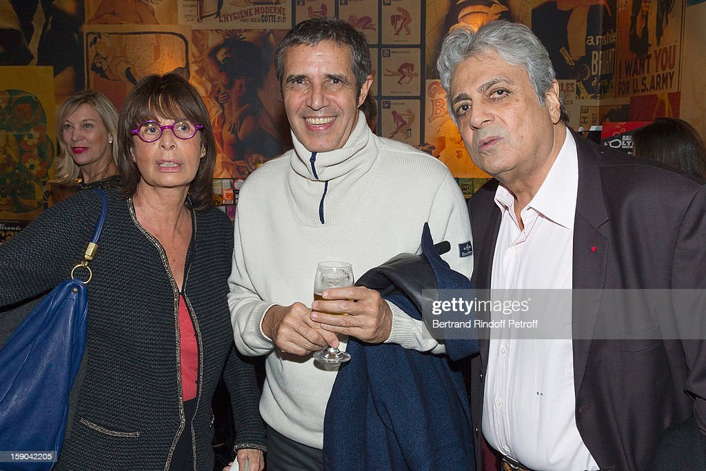 Francoise Coquet, Julien Clerc and Enrico Macias pose prior to attending the show of French impersonator Laurent Gerra at Olympia hall on January 5, 2013 in Paris, France.
