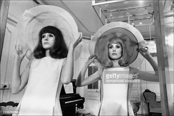 Francoise Dorleac and Catherine Deneuve in shooting film ' Les Demoiselles de Rochefort' in Rochefort France on June 09 1966