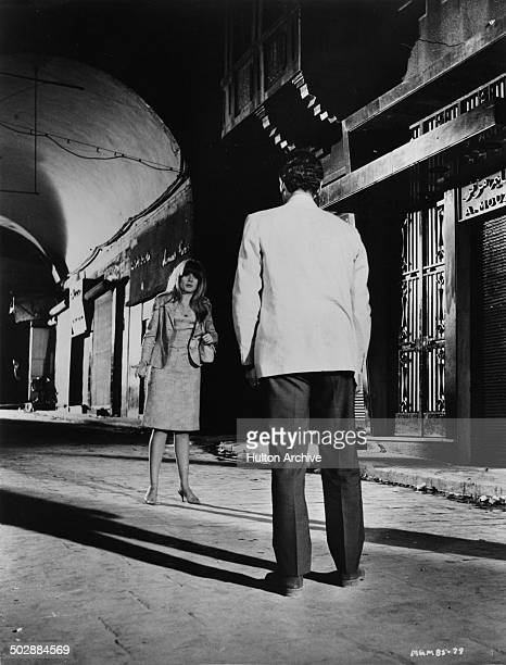 Francoise Dorleac says goodbye to David Niven in a scene from the MGM movie 'Where the Spies Are' circa 1965