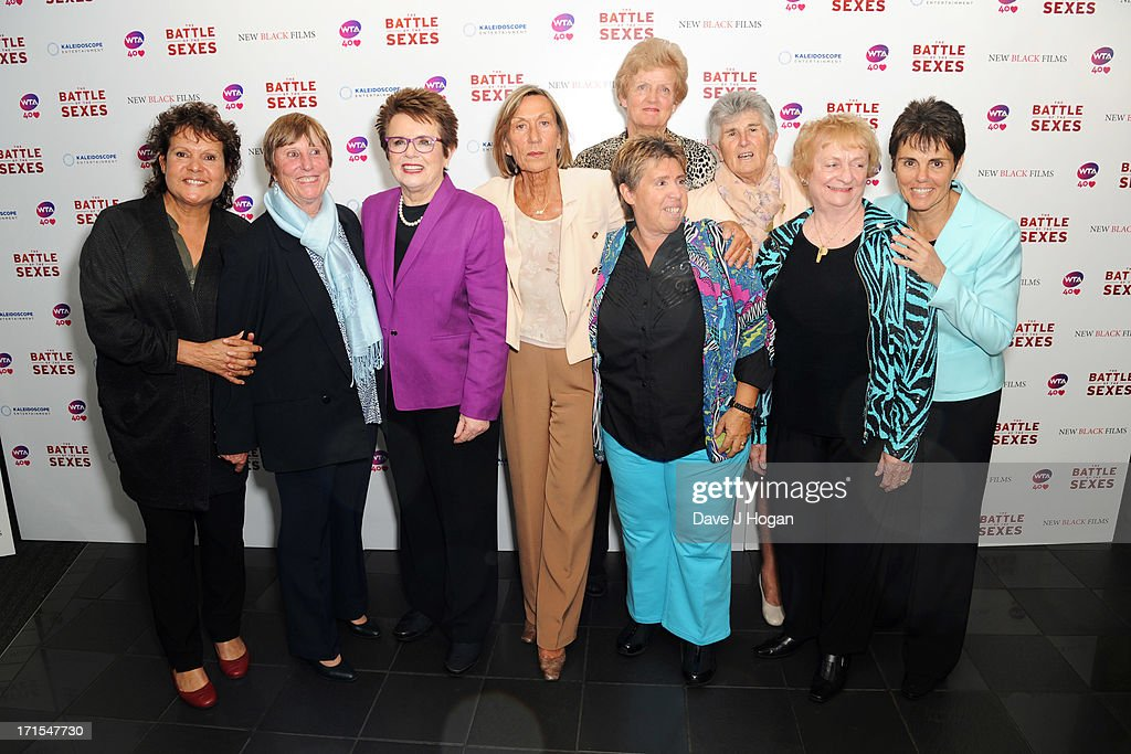 Francoise Durr, <a gi-track='captionPersonalityLinkClicked' href=/galleries/search?phrase=Billie+Jean+King&family=editorial&specificpeople=93147 ng-click='$event.stopPropagation()'>Billie Jean King</a>, Ingrid Lofdahl-Bentzer, Betty Stove, Judy Dalton and Ilana Kloss attend the UK premiere of 'Battle Of The Sexes' at The Vue Leicester Square on June 26, 2013 in London, England.
