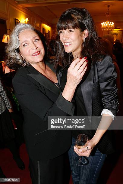 Francoise Fabian and actress Melanie Doutey attend the delivery of the medal of the Legion of Honor to actress Francoise Fabian at Theatre Edouard...