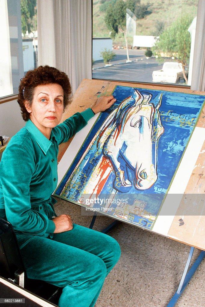 Francoise Gilot in her art studio circa 1982 in La Jolla, California.