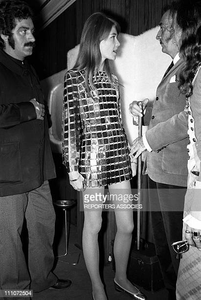 Francoise Hardy and Salvador Dali in Paco Rabanne In France On May 19 1968