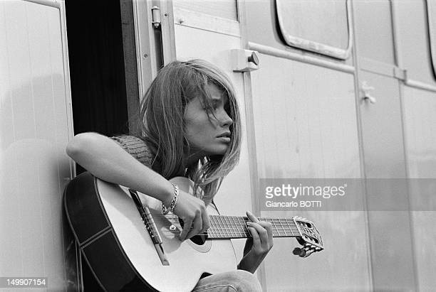 Francoise Hardy on the set of American action film 'Grand Prix' directed by John Frankenheimer 1966 in France