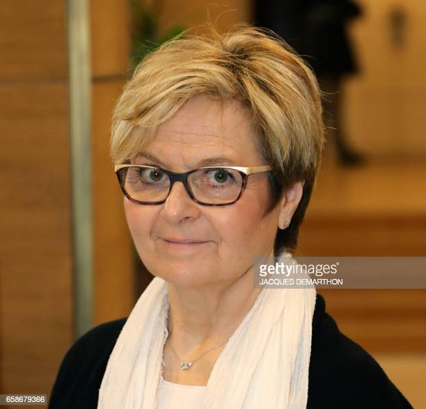 Francoise Kermorgant head of the French workers' union Force Ouvriere Pole emploiUnedic branch in the BasRhin arrives at the MEDEF headquarters the...