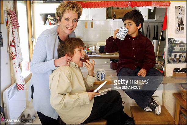 Francoise Laborde and two sons Numa and Theo in France on February 09 2003