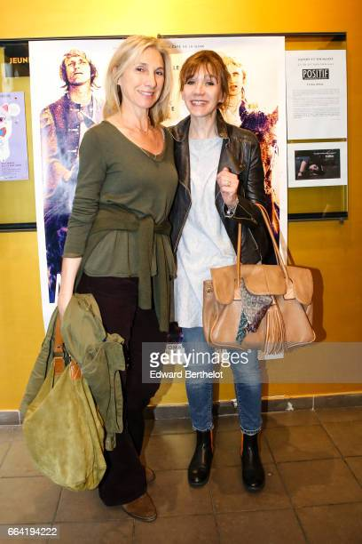 Francoise Lepine and Virginie Lemoine attend the 'Au Long De La Riviere Fango' Paris Premiere At Le Luminor on April 3 2017 in Paris France