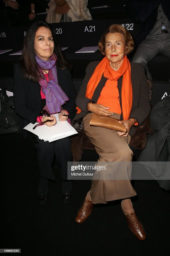 Francoise Meyers Bettancourt and Liliane Bettancourt attend the Giorgio Armani Prive Spring/Summer 2013 Haute-Couture show as part of Paris Fashion Week at Theatre National de Chaillot on January 22, 2013 in Paris, France.