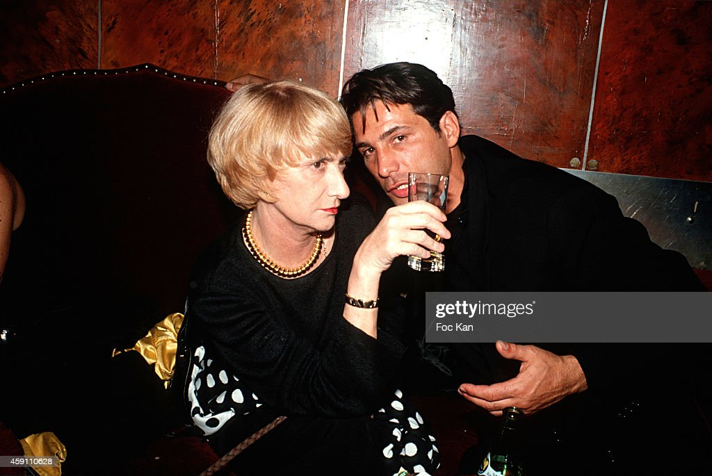 Francoise Sagan and Stephane Ferrari attend a Private Dinner Party at Les Bains Douches in the 1980s in Paris France