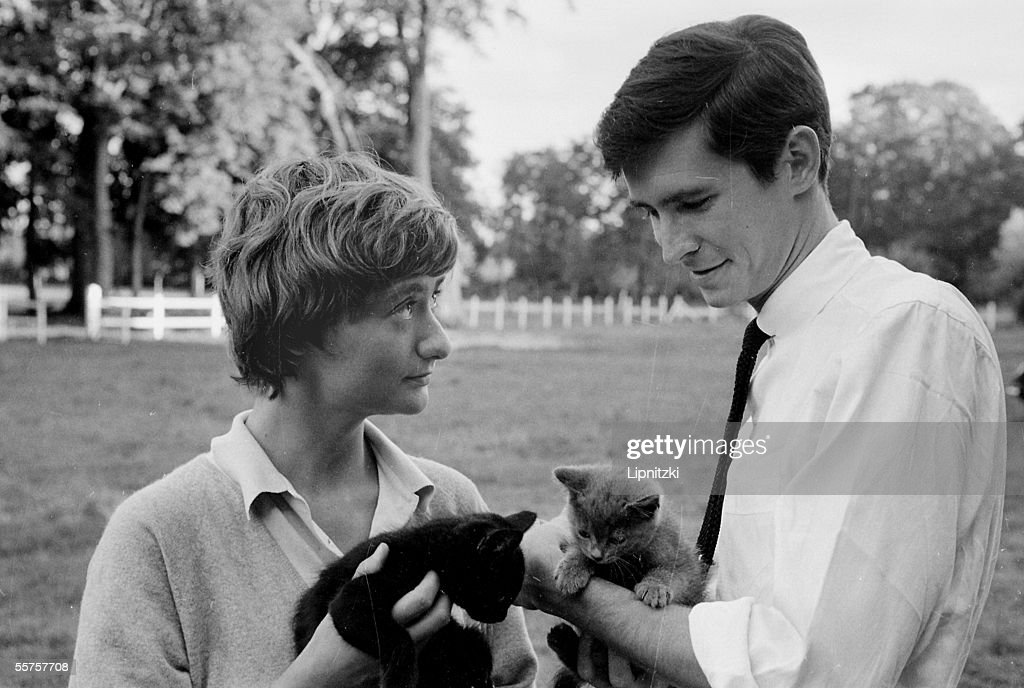 Francoise Sagan French woman of letters and Anthony Perkins American actor August 1960 LIP3449122A