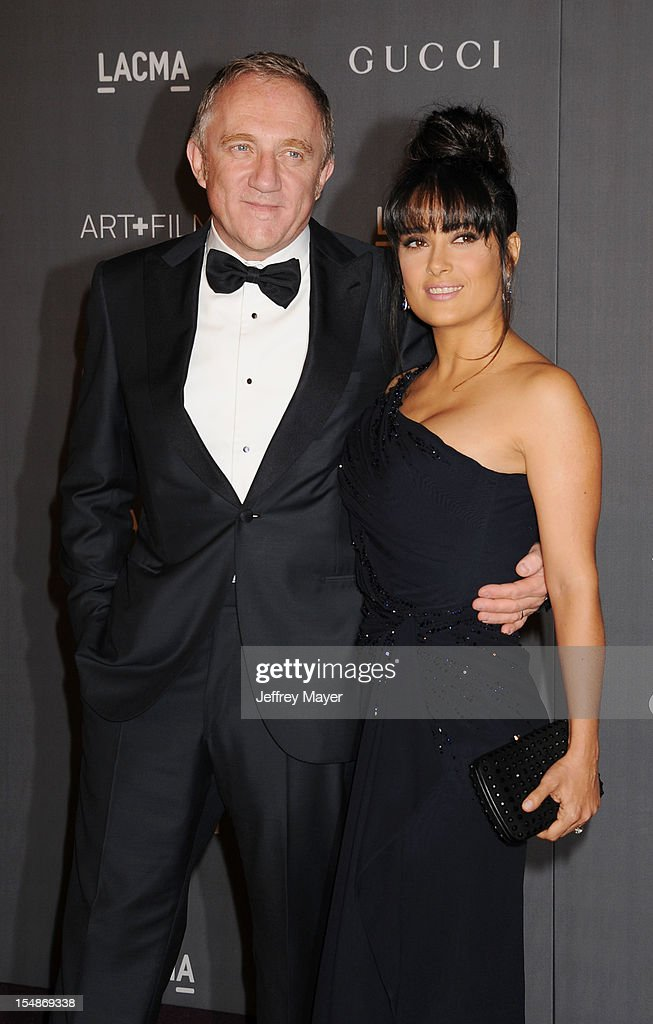 Francois-Henri Pinault and actress <a gi-track='captionPersonalityLinkClicked' href=/galleries/search?phrase=Salma+Hayek&family=editorial&specificpeople=201844 ng-click='$event.stopPropagation()'>Salma Hayek</a> arrive at LACMA Art + Film Gala at LACMA on October 27, 2012 in Los Angeles, California.