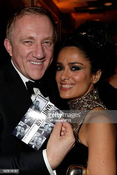 FrancoisHenri Pinault and actress Salma Hayek attend the 2013 Vanity Fair Oscar Party hosted by Graydon Carter at Sunset Tower on February 24 2013 in...