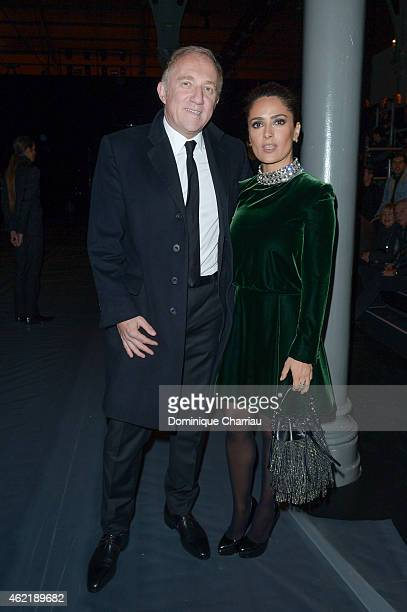 FrancoisHenri Pinault and actress Salma Hayek attend the Saint Laurent Menswear Fall/Winter 20152016 show as part of Paris Fashion Week on January 25...