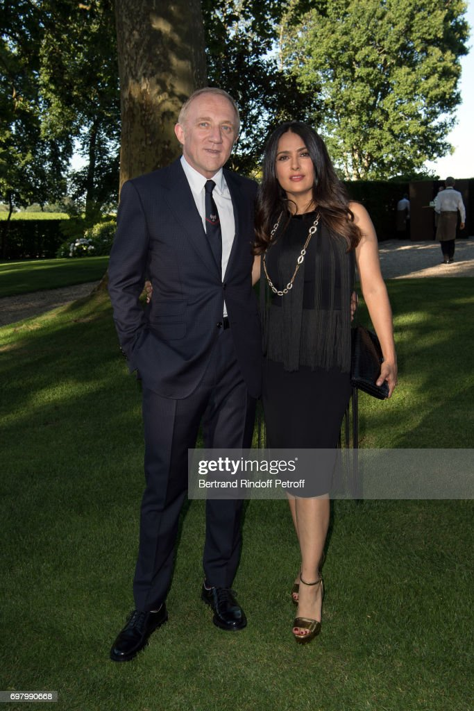 Francois-Henri Pinault and his wife Actress Salma Hayek attend the Dinner of 'Grands Crus Classes en 1858' on June 18, 2017 in Chateau Latour, France.