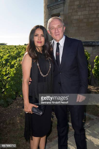 FrancoisHenri Pinault and his wife Actress Salma Hayek attend the Dinner of 'Grands Crus Classes en 1858' on June 18 2017 in Chateau Latour France