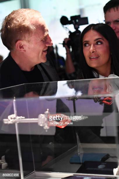 FrancoisHenri Pinault and Salma Hayek attend Fashion Tech Lab launch event hosted by Miroslava Duma and Stella McCartney as part of Paris Fashion...