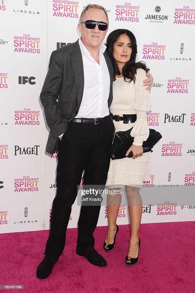 Francois-Henri Pinault and Salma Hayek attend the 2013 Film Independent Spirit Awards at Santa Monica Beach on February 23, 2013 in Santa Monica, California.