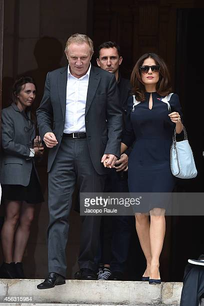 FrancoisHenri Pinault and Salma Hayek leave the Stella McCartney during Paris Fashion Week Womenswear SS 2015 on September 29 2014 in Paris France
