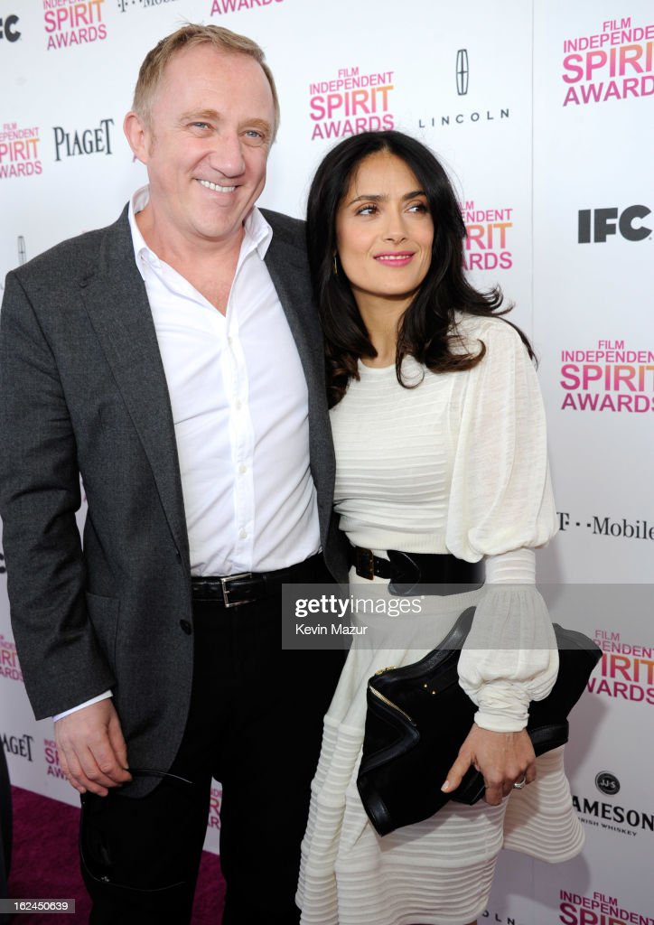 Francois-Henri Pinault and Salma Hayek Pinault attend the 2013 Film Independent Spirit Awards at Santa Monica Beach on February 23, 2013 in Santa Monica, California.