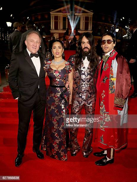 FrancoisHenri Pinault Salma Hayek Alessandro Michele and Jared Leto attend The Fashion Awards 2016 on December 5 2016 in London United Kingdom