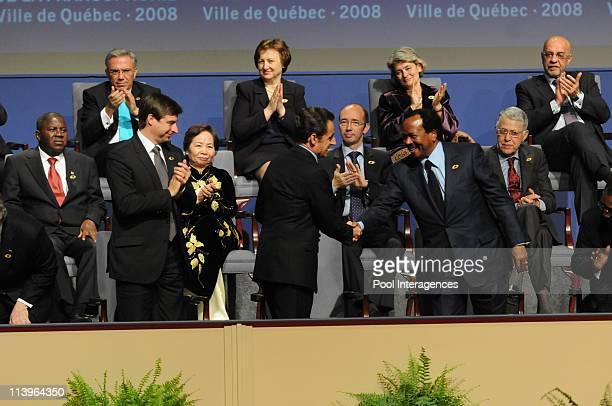 Francophonie summit In Quebec Canada On October 17 2008Shawn Graham Nicolas Sarkozy and Paul Biya