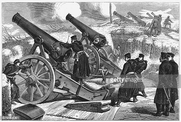 Prussian siege guns in front of Paris Wood engraving 11 February 1871