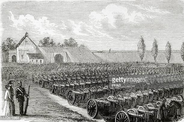 FrancoPrussian War Cannons taken in Sedan The Spanish Illustration 1871 Engraving by Capuz