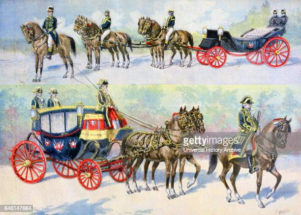 FrancoRussian Alliance French state carriages prepared for the visit of Tsar Nicholas II accompanied by Empress Alexandra of Russia 'Le Petit...