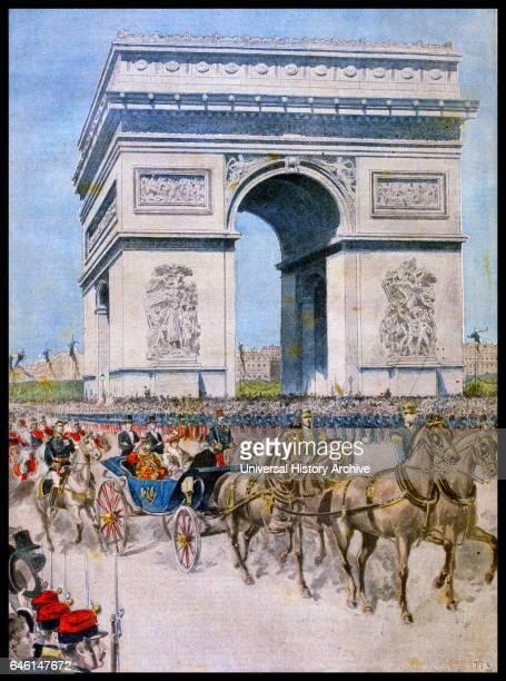 FrancoRussian Alliance Tsar Nicholas II accompanied by Empress Alexandra and President Faure lride by the Arc de Triomphe 'Le Petit Journal' Paris...