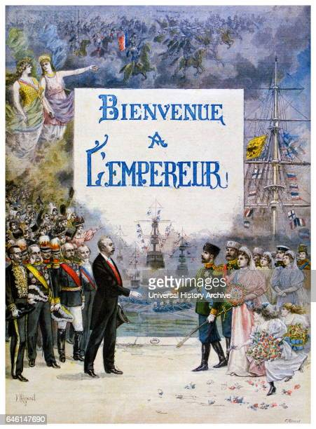 FrancoRussian Alliance Tsar Nicholas II accompanied by Empress Alexandra is met by French President Faure upon their arrival in Paris 'Le Petit...