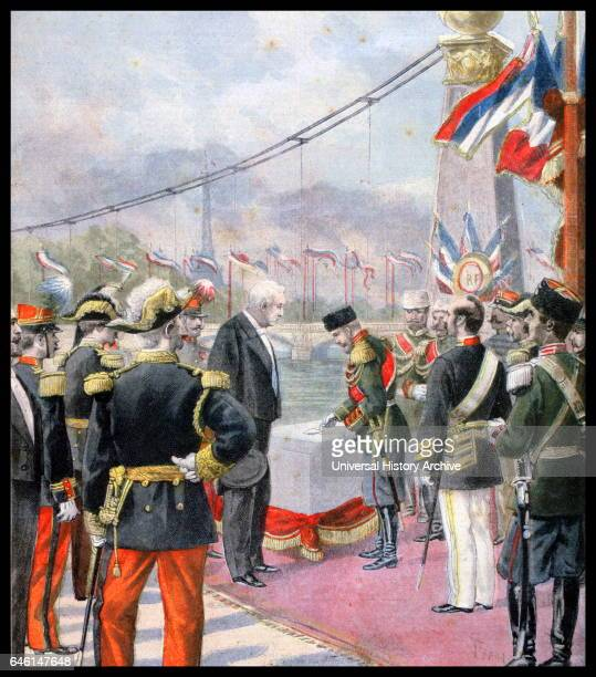 FrancoRussian Alliance Tsar Nicholas II accompanied by President Faure laying the first stone of the Alexander III bridge Paris named after his...