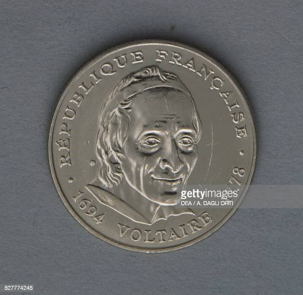 5 francs coin 300th anniversary of Voltaire's birth obverse Voltaire France 20th century