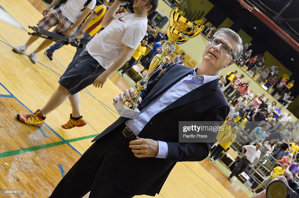 Franjo Bobinac president of the Handball federation of Slovenia with the cup for first place Team Celje won the National Cup for the 18th time in...