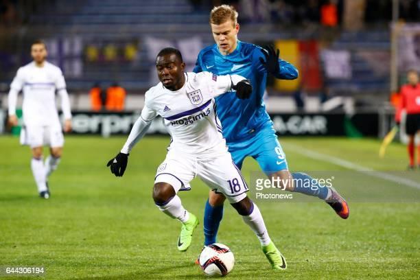 Frank Acheampong forward of RSC Anderlecht and Aleksandr Kokorin of FC Zenit during the match between Zenit St Petersburg and Rsc Anderlecht UEFA...