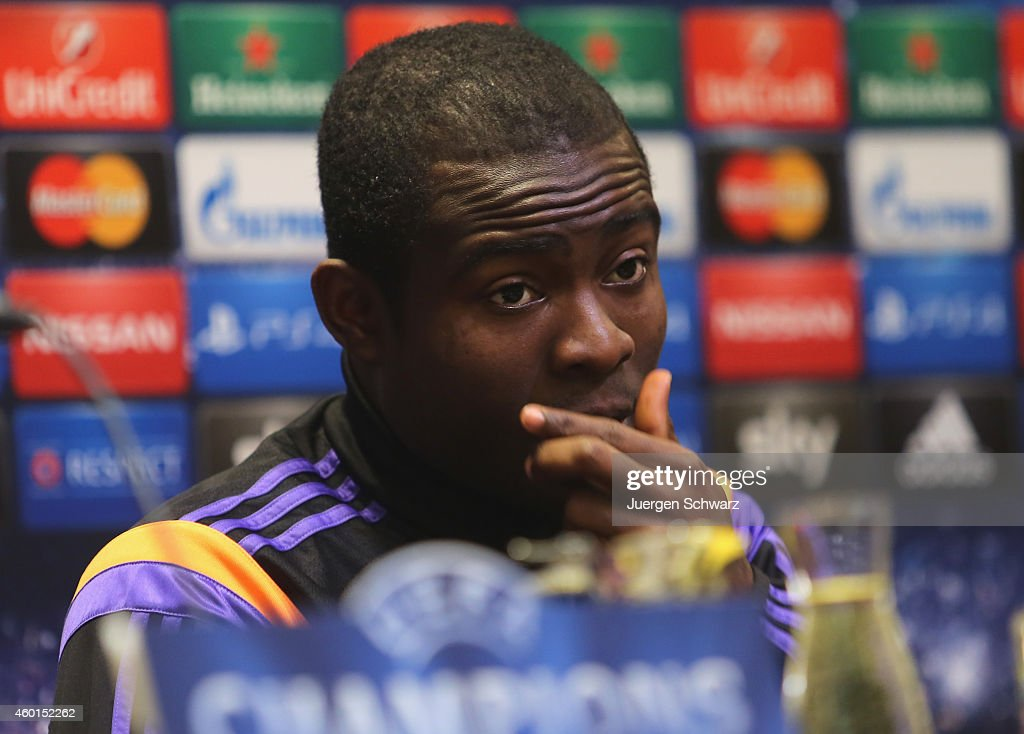 Frank Acheampong of Anderlecht attends a news conference one day ahead of the Champions League Group D football match against Borussia Dortmund on...