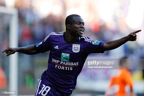Frank Acheampong of Anderlecht celebrates after scoring a goal during the Jupiler League match between RSC Anderlecht and KAA Gent held at the...