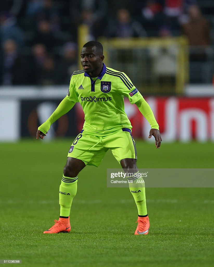 Frank Acheampong of Anderlecht during the UEFA Europa League match between Anderlecht and Olympiakos FC at Constant Vanden Stock Stadium on February...