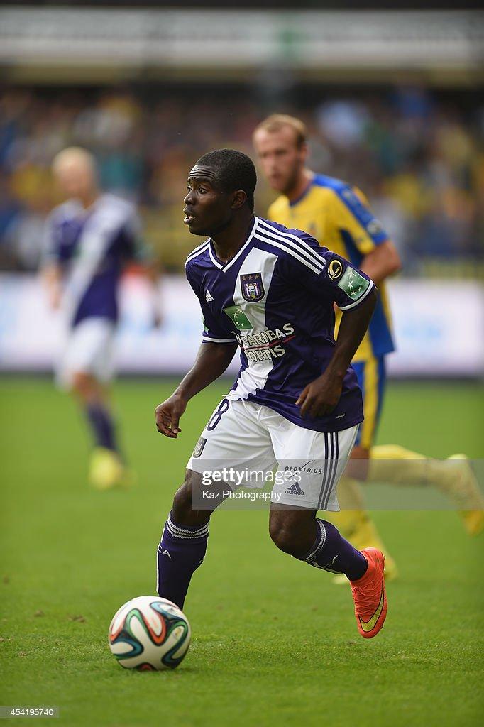 Frank Acheampong of Anderlecht in action during the Belgiun Jupilar League match between RSC Anderlecht and WaaslandBeveren at Constant Vanden Stock...