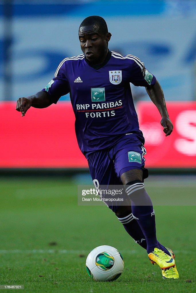 Frank Acheampong of Anderlecht in action during the Jupiler League match between RSC Anderlecht and KAA Gent held at the Constant Vanden Stock...