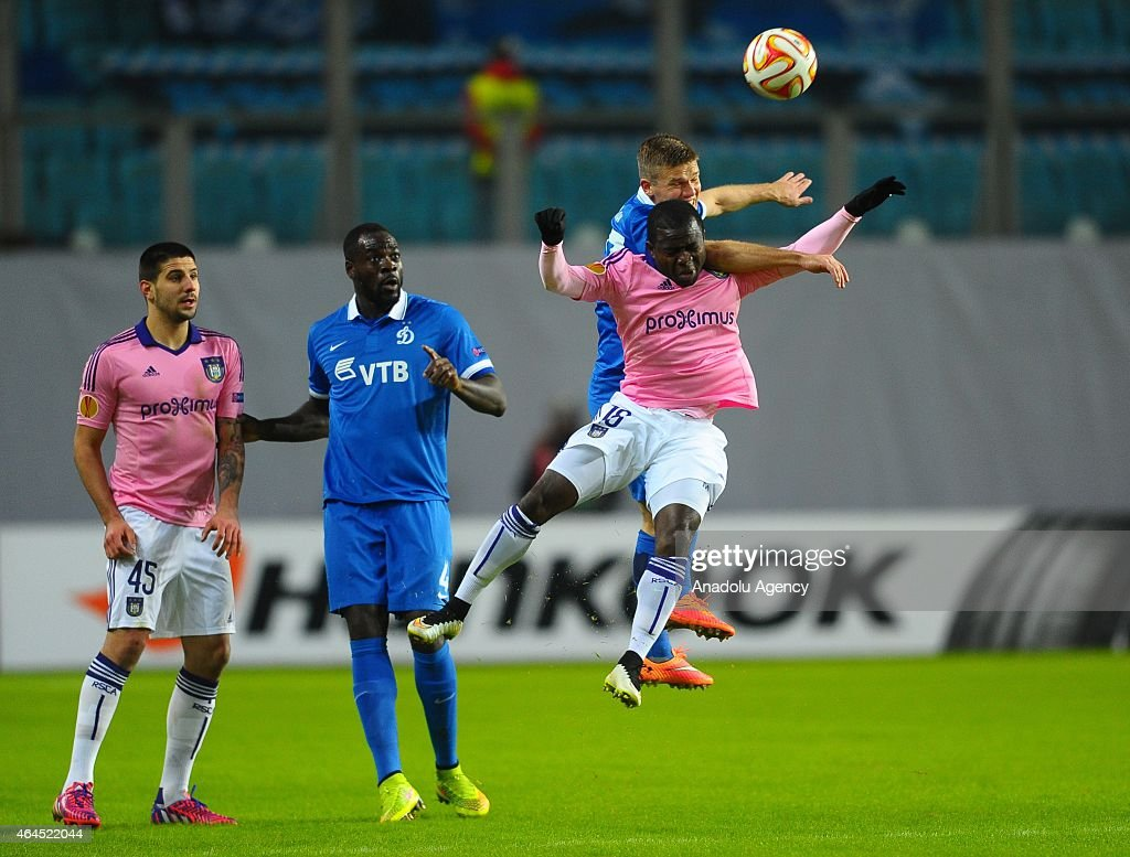 Frank Acheampong of Anderlecht in action during the UEFA Europe League football match between Dynamo Moscow and Anderlecht in Moscow Russia on...