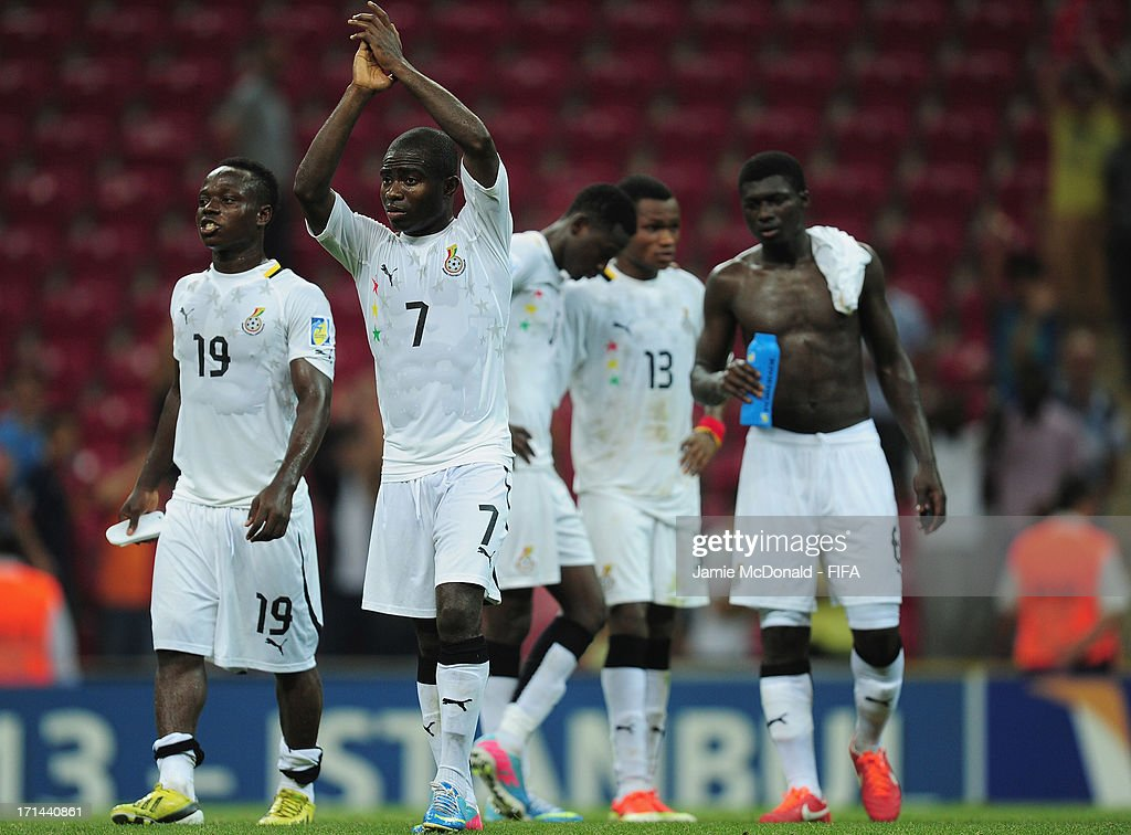 Frank Acheampong of Ghana applauds the fans as his team exits the competition during the FIFA U-20 World Cup Group A match between Spain and Ghana at the Ali Sami Yen Arena on June 24, 2013 in Istanbul, Turkey.