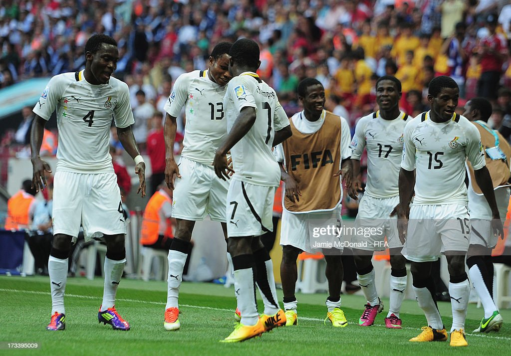 <a gi-track='captionPersonalityLinkClicked' href=/galleries/search?phrase=Frank+Acheampong&family=editorial&specificpeople=8991623 ng-click='$event.stopPropagation()'>Frank Acheampong</a> of Ghana celebrates his goal during the FIFA U-20 World Cup 3rd/4th Place Playoff match between Ghana and Iraq at the Ali Sami Yen Arena on July 13, 2013 in Istanbul, Turkey.