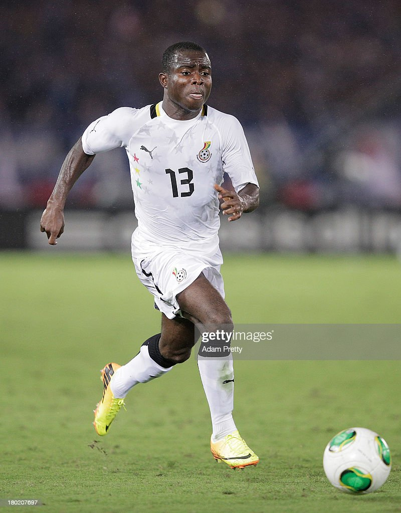 <a gi-track='captionPersonalityLinkClicked' href=/galleries/search?phrase=Frank+Acheampong&family=editorial&specificpeople=8991623 ng-click='$event.stopPropagation()'>Frank Acheampong</a> of Ghana controls the ball during the international friendly match between Japan and Ghana at International Stadium Yokohama on September 10, 2013 in Yokohama, Japan.