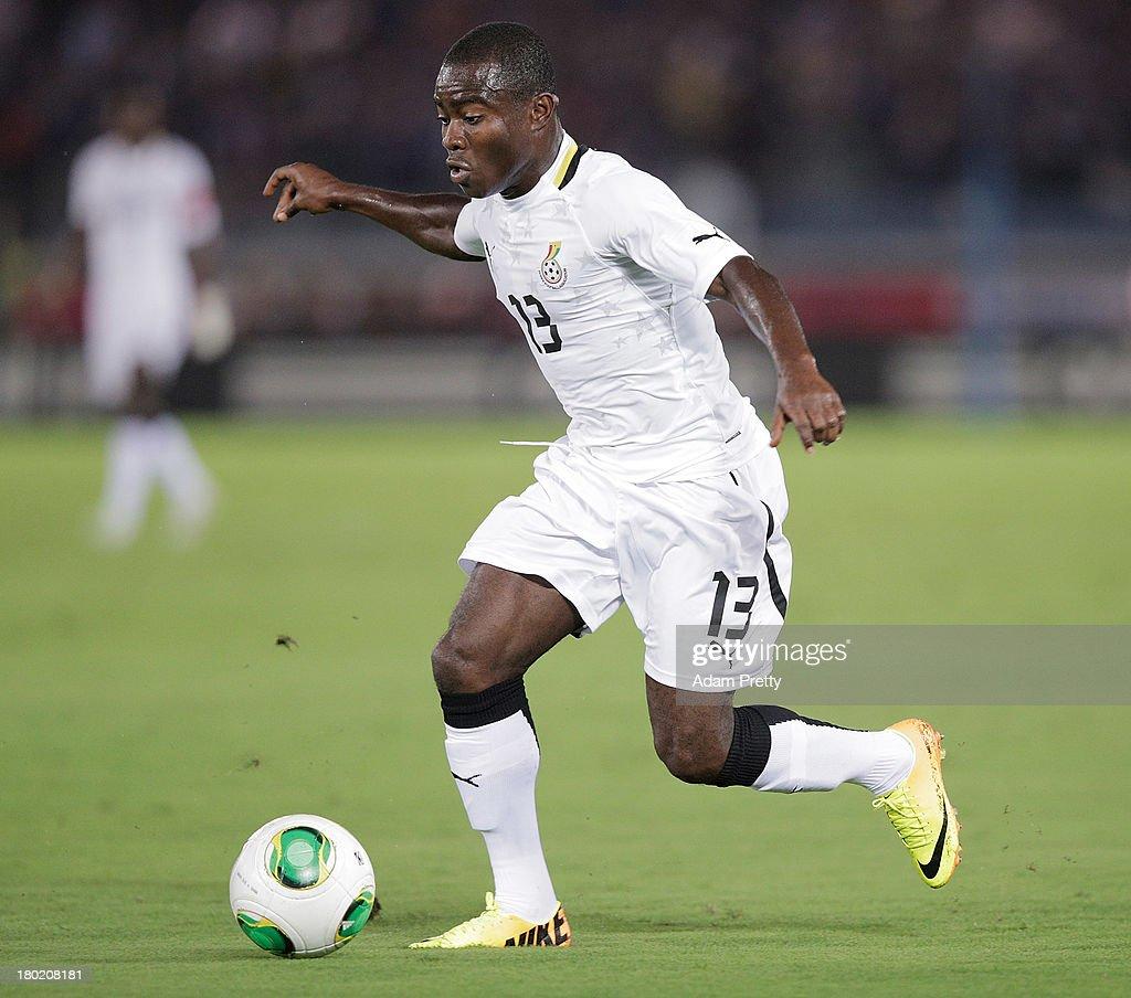 Frank Acheampong of Ghana controls the ball during the international friendly match between Japan and Ghana at International Stadium Yokohama on...