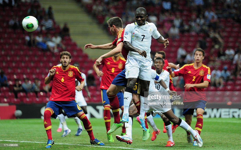 Frank Acheampong of Ghana heads on goal during the FIFA U-20 World Cup Group A match between Spain and Ghana at the Ali Sami Yen Arena on June 24, 2013 in Istanbul, Turkey.