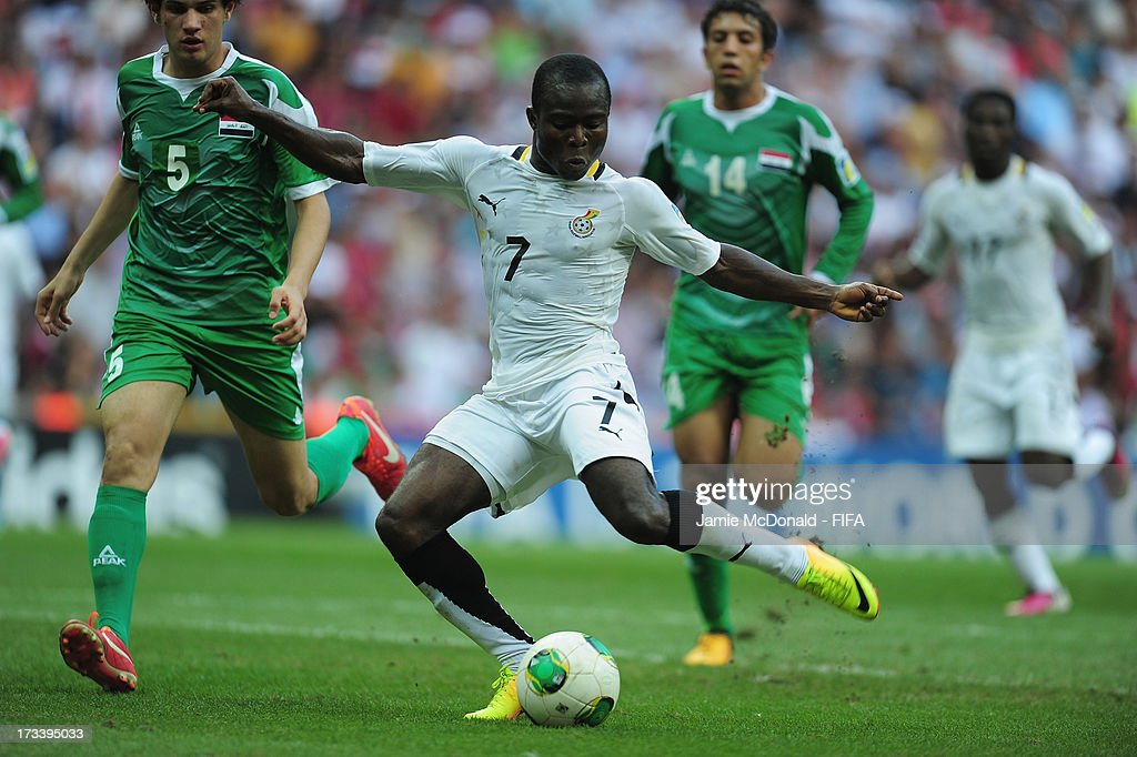 <a gi-track='captionPersonalityLinkClicked' href=/galleries/search?phrase=Frank+Acheampong&family=editorial&specificpeople=8991623 ng-click='$event.stopPropagation()'>Frank Acheampong</a> of Ghana scores his goal during the FIFA U-20 World Cup 3rd/4th Place Playoff match between Ghana and Iraq at the Ali Sami Yen Arena on July 13, 2013 in Istanbul, Turkey.