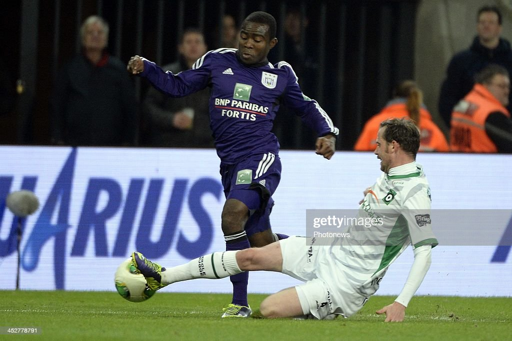Frank Acheampong of RSC Anderlecht in action during the Jupiler League match between RSC Anderlecht and Cercle Brugge on December 01 2013 in...