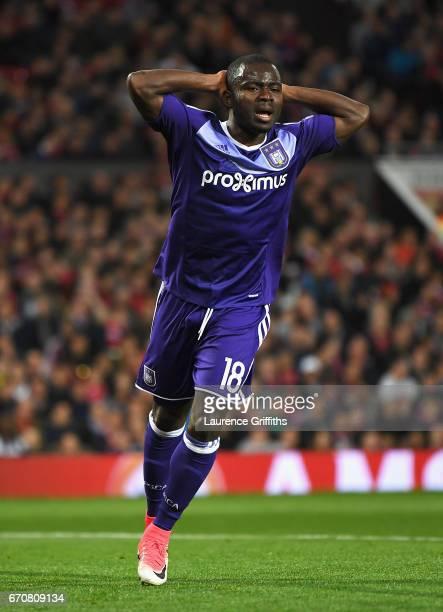 Frank Acheampong of RSC Anderlecht reacts during the UEFA Europa League quarter final second leg match between Manchester United and RSC Anderlecht...